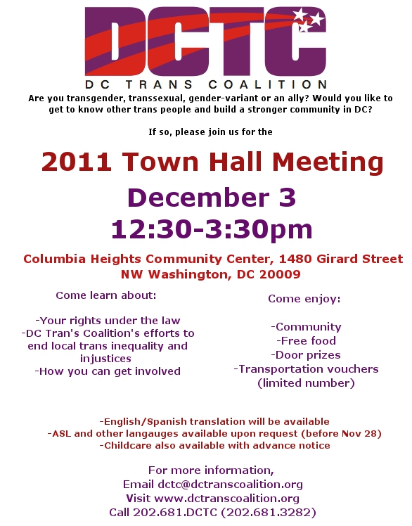 Announcing Our 2011 Trans Town Hall Meeting Dc Trans Coalition