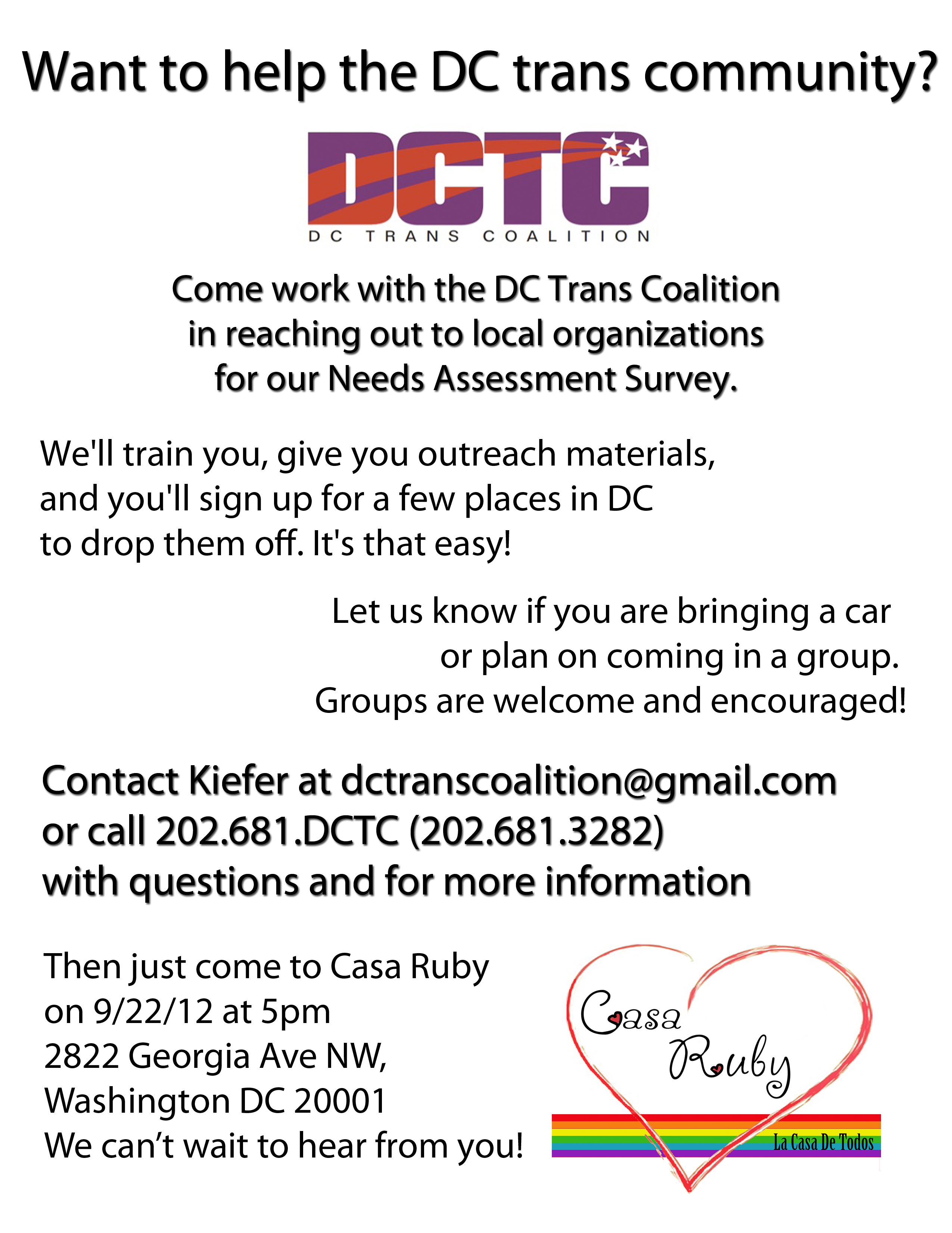 Needs Assessment Outreach Event on Saturday! | DC Trans Coalition